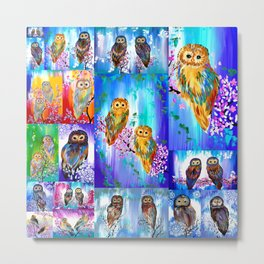 Owl with Bright Colors Metal Print