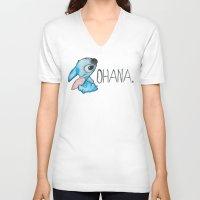 ohana V-neck T-shirts featuring Ohana by hcase