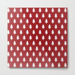 Hand drawn christmas red trees Metal Print