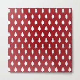 Hand drawn christmas red trees Metal Print