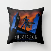 cartoon Throw Pillows featuring Sherlock Cartoon by harebrained