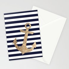 GOLD GLITTER ANCHOR IN WHITE AND NAVY Stationery Cards