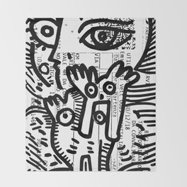 Creatures Graffiti Black and White on French Train Ticket Throw Blanket