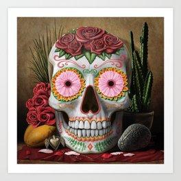 Flora - Sugar Skull with Cactus, Red Roses, Avocado and Papaya Art Print