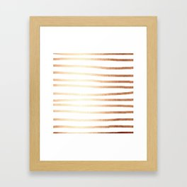 Simply Drawn Stripes Deep Bronze Amber Framed Art Print
