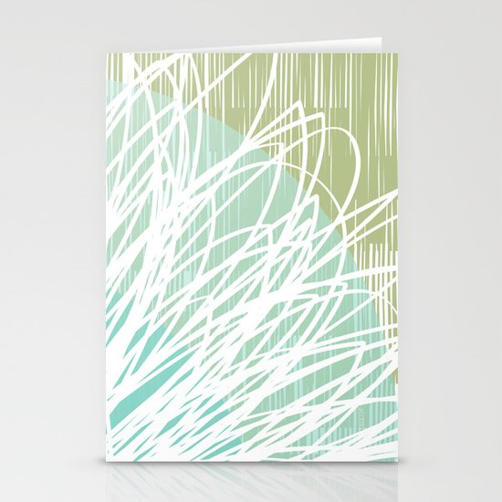 Doodle Flowers in Mint by Friztin Stationery Cards