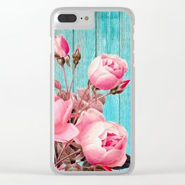 Pink Roses On Turquoise Blue Wood Clear iPhone Case