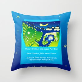 Envelope with a Christmas card and greetings in Polish, Italian and English Throw Pillow