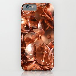 Copper colored thumbtacks -- Close up art for home office --  iPhone Case
