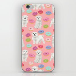 Maltese donuts dog breed funny pet lover dog person pattern print by pet friendly iPhone Skin