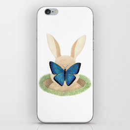 Butterfly resting on a bunny's nose iPhone Skin