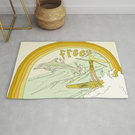 follow the dolphins you will feel free // retro surf art by surfy birdy Rug