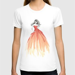 Coral ombre fashion illustration T-shirt