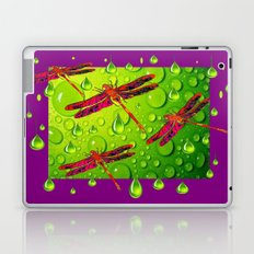 Red Dragonflies Fantasy Art Lemon-Chartreuse Rain & Purple Laptop & iPad Skin