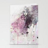 fashion illustration Stationery Cards featuring FASHION ILLUSTRATION 15 by Justyna Kucharska