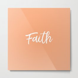 Faith - Peach and White Metal Print
