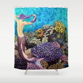 Morning Routine - Mermaid seascape Shower Curtain