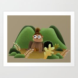 Little Caveman Art Print