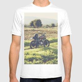 Moto guzzi, café racer, photo in south italy, man cave. Scrambler, fine art, motorcycle, motorbike T-shirt