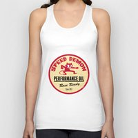 decal Tank Tops featuring Hot Rod Retro Decal by Pixel Villain