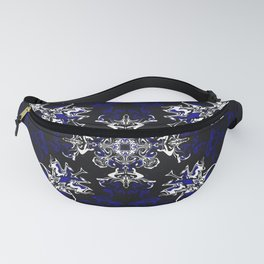 Dark Blue, Black, and White Pattern Fanny Pack