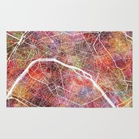 paris map Area & Throw Rugs featuring Paris by MapMapMaps.Watercolors