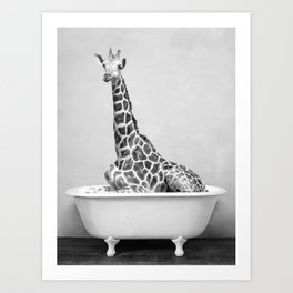 Giraffe In A Bath Art Print