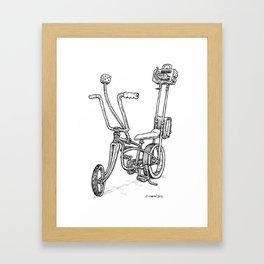 Cartoon Retro Mod Stingray 8-Track Muscle Bike Bicycle Stingray Framed Art Print