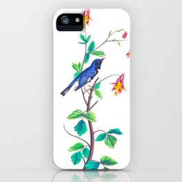 Blue Birds & Pastel Turquoise Leaves iPhone Case