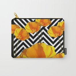 BLACK & WHITE CALIFORNIA YELLOW POPPIES ART Carry-All Pouch