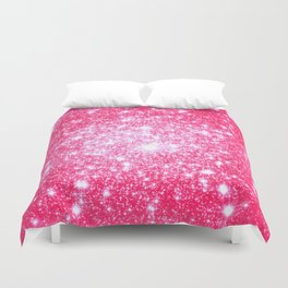 Hot Pink Galaxy Stars Sparkle Duvet Cover