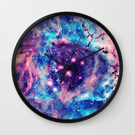 Trendy Pastel Pink Blue Nebula Girly Stars Galaxy Wall Clock