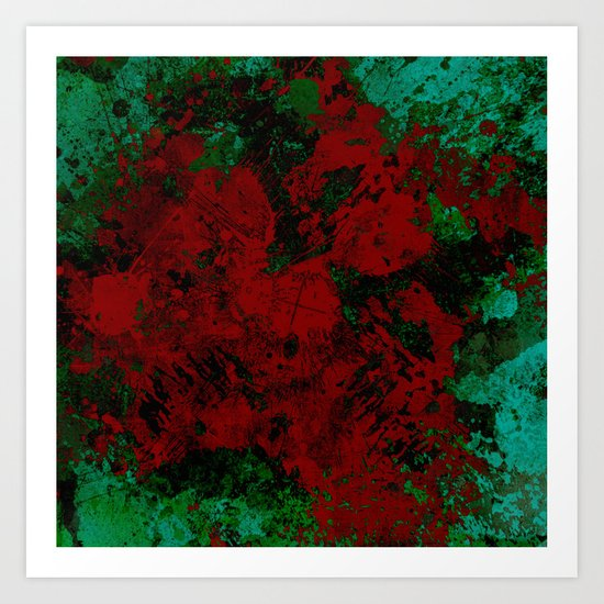 Roses Are Red - Abstract, red and cyan painting Art Print