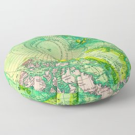 Colorful Map of the North Pole - Vintage Floor Pillow