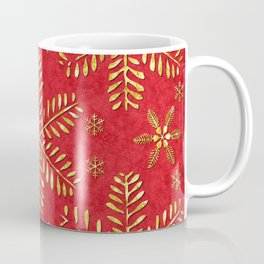 DP044-2 Gold snowflakes on red Coffee Mug