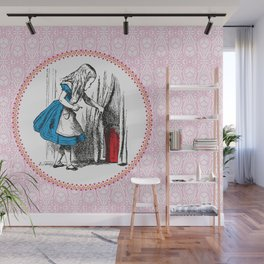Alice in Wonderland   Alice finds Key and the Door to Wonderland   Pink Damask Pattern   Wall Mural