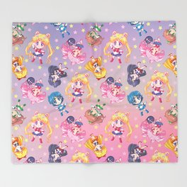 Chibi Sailor Moon Crystal Pattern Throw Blanket
