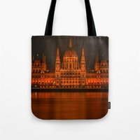 budapest Tote Bags featuring parlement budapest by Sébastien BOUVIER