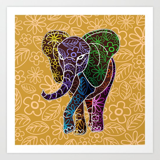 Elephant Floral Batik Art Design Art Print