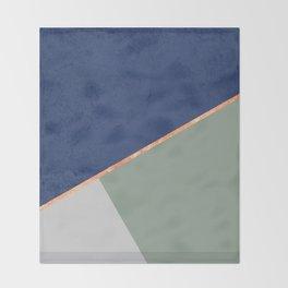 Navy Sage Gray Gold Geometric Throw Blanket