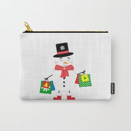 Happy Snowman with shopping bags Carry-All Pouch