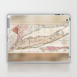 Long Island New York 1842 Mather Map Laptop & iPad Skin