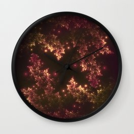 Fractal Leaves Red Glow Wall Clock