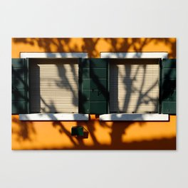 Burano details, windows on orange wall Canvas Print