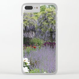 Blue Flowergarden With Wisteria Clear iPhone Case