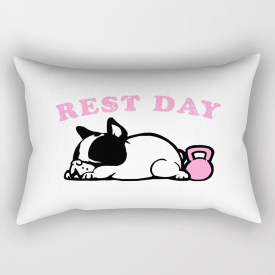 Rest Day Frenchie Rectangular Pillow