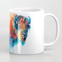 bison Mugs featuring Bison by Slaveika Aladjova