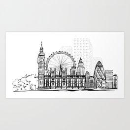London in Black Art Print
