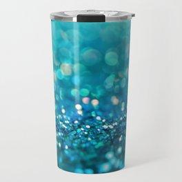Teal turquoise blue shiny glitter print effect - Sparkle Luxury Backdrop Travel Mug