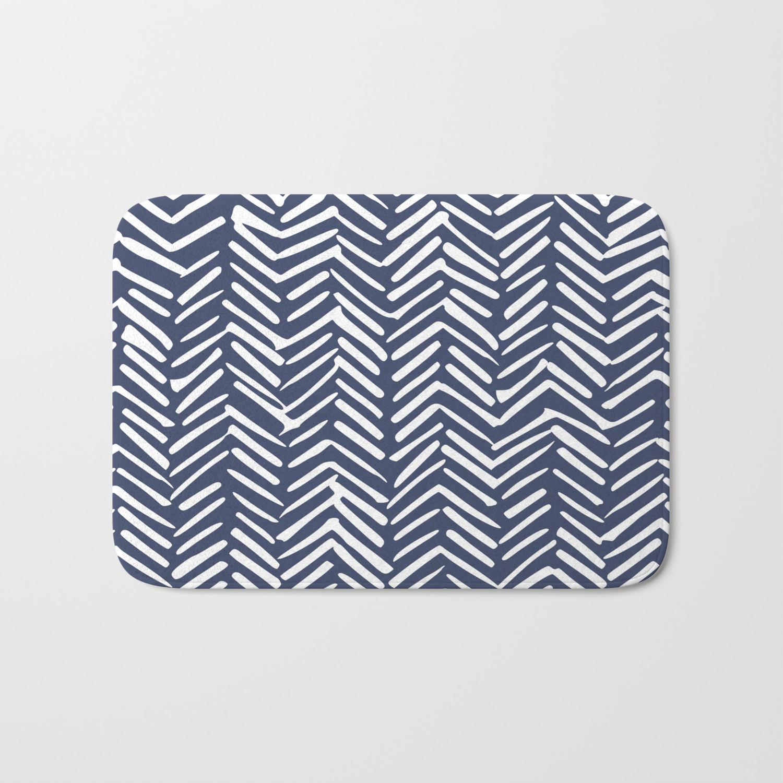Boho Herringbone Pattern, Navy Blue and White Bath Mat by Megan ...
